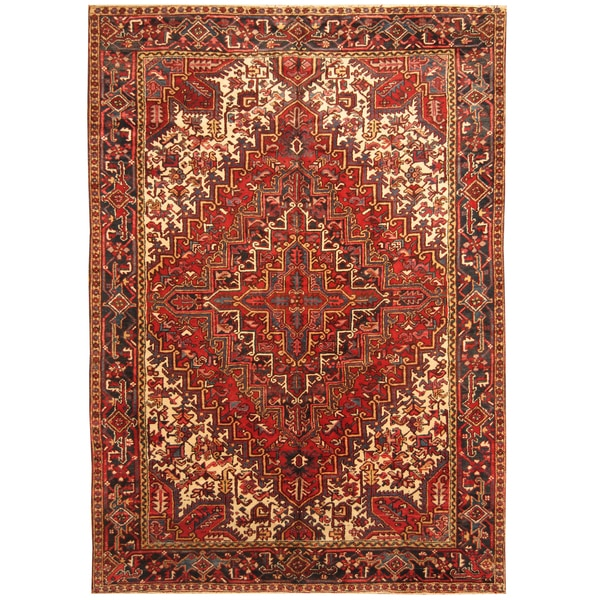 Handmade Herat Oriental Persian Hand-knotted Tribal 1940s Antique Heriz Wool Rug - 7'10 x 11'4
