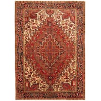 Handmade Herat Oriental Persian Hand-knotted Tribal 1940s Antique Heriz Wool Rug (7'10 x 11'4) - 7'10 x 11'4