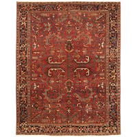 Handmade Herat Oriental Persian Hand-knotted Tribal 1930s Antique Heriz Wool Rug (7'10 x 10'1)