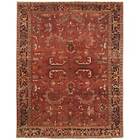 Handmade Herat Oriental Persian Hand-knotted Tribal 1930s Antique Heriz Wool Rug - 7'10 x 10'1