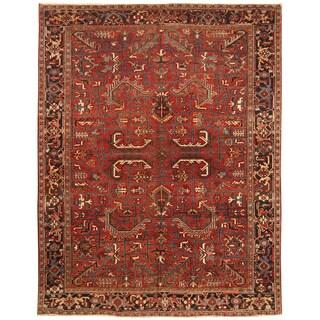 Handmade Herat Oriental Persian Hand-knotted Tribal 1930s Antique Heriz Wool Rug (Iran) - 7'10 x 10'1