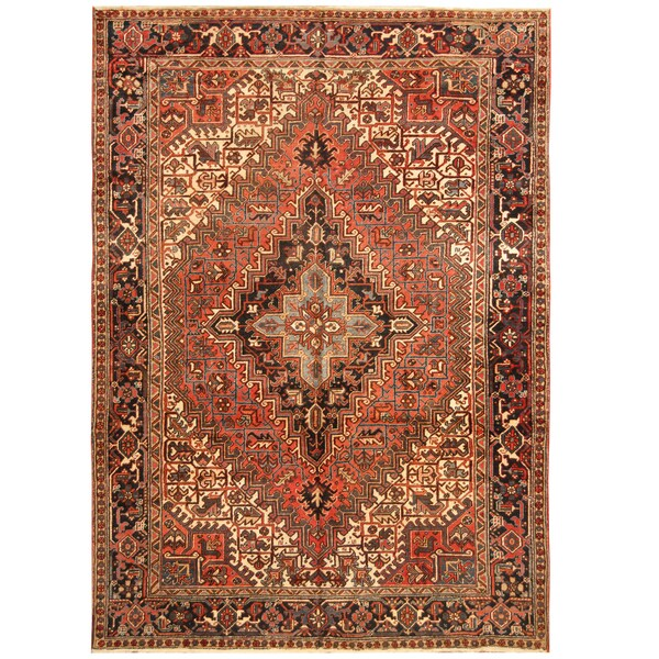 Handmade Herat Oriental Persian Hand-knotted Tribal 1940s Antique Heriz Wool Rug (7'7 x 10'7) - 7'7 x 10'7