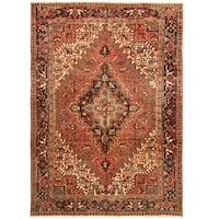 Handmade Herat Oriental Persian Hand-knotted Tribal 1940s Antique Heriz Wool Rug (7'7 x 10'7)