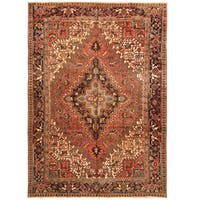 Handmade Herat Oriental Persian Hand-knotted Tribal 1940s Antique Heriz Wool Rug - 7'7 x 10'7