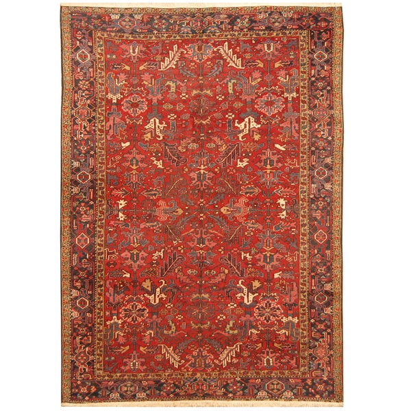 Handmade Herat Oriental Persian Hand-knotted Tribal 1940s Antique Heriz Wool Rug (7'8 x 10'6) - 7'8 x 10'6