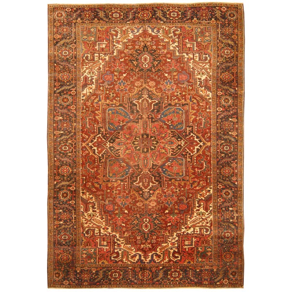 Handmade Herat Oriental Persian Hand-knotted Tribal 1940s Antique Heriz Wool Rug (7'9 x 11'2) - 7'9 x 11'2