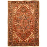Handmade Herat Oriental Persian Hand-knotted Tribal 1940s Antique Heriz Wool Rug (7'9 x 11'2) - 7'9 x 11'2