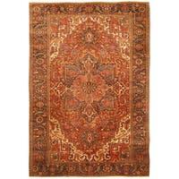 Handmade Herat Oriental Persian Hand-knotted Tribal 1940s Antique Heriz Wool Rug (Iran) - 7'9 x 11'2