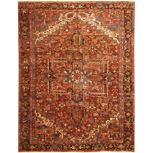 Handmade Herat Oriental Persian Hand-knotted Tribal 1940s Antique Heriz Wool Rug - 8'10 x 11'5 (Iran)