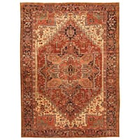Handmade Herat Oriental Persian Hand-knotted Tribal 1920s Antique Heriz Wool Rug - 8'5 x 11'5