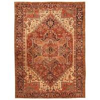 Handmade Herat Oriental Persian Hand-knotted Tribal 1920s Antique Heriz Wool Rug - 8'5 x 11'5 (Iran)