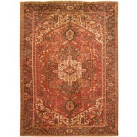Handmade Herat Oriental Persian Hand-knotted Tribal 1940s Antique Heriz Wool Rug (9' x 12'3)