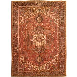 Handmade Herat Oriental Persian Hand-knotted Tribal 1940s Antique Heriz Wool Rug (Iran)