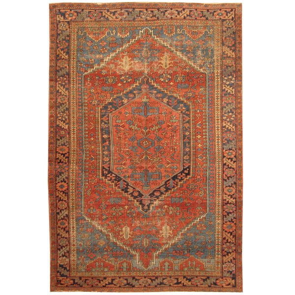 Handmade Herat Oriental Persian Hand-knotted Tribal 1890s Antique Heriz Wool Rug - 6'8 x 10'