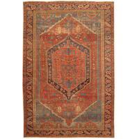 Handmade Herat Oriental Persian Hand-knotted Tribal 1890s Antique Heriz Wool Rug (6'8 x 10') - 6'8 x 10'
