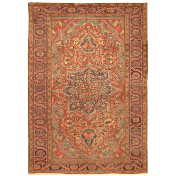 Vintage Persian Heriz Design Wool Area Rug: Shop Handmade Herat Oriental Persian Hand-knotted Tribal