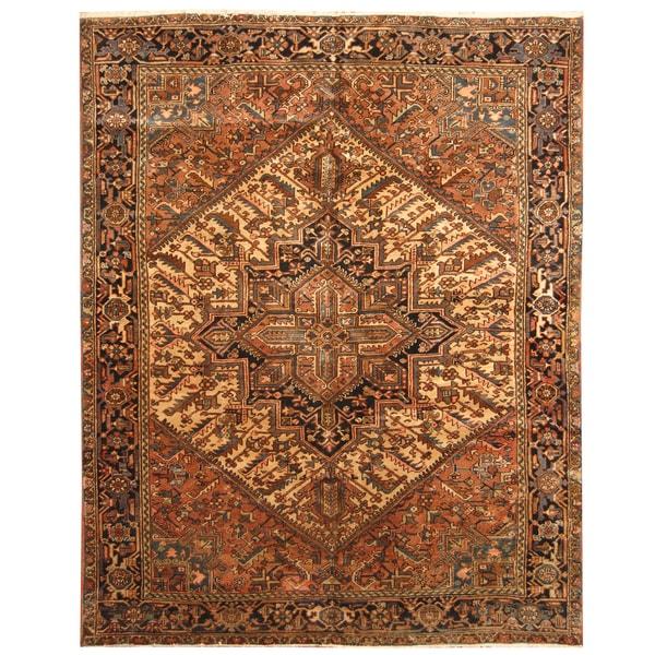 Handmade Herat Oriental Persian Hand-knotted Tribal 1960s Semi-antique Heriz Wool Rug (8'2 x 10'4)