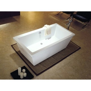 Dyconn Faucet Matera White Acrylic Contemporary Freestanding Bathroom Bathtub