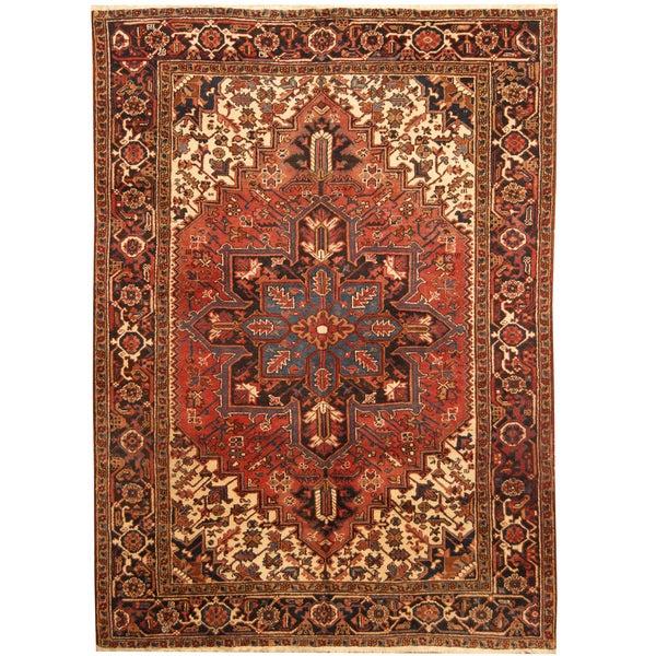 Handmade Herat Oriental Persian Hand-knotted Tribal 1960s Semi-antique Heriz Wool Rug - 6'10 x 9'5 (Iran)