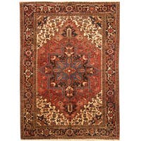 Handmade Herat Oriental Persian Hand-knotted Tribal 1960s Semi-antique Heriz Wool Rug (6'10 x 9'5)