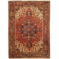 Handmade Herat Oriental Persian Hand-knotted Tribal 1960s Semi-antique Heriz Wool Rug (6'10 x 9'5) - 6'10 x 9'5