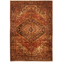 Handmade Herat Oriental Persian Hand-knotted Tribal 1940s Antique Heriz Wool Rug (7'6 x 10'6) - 7'6 x 10'6