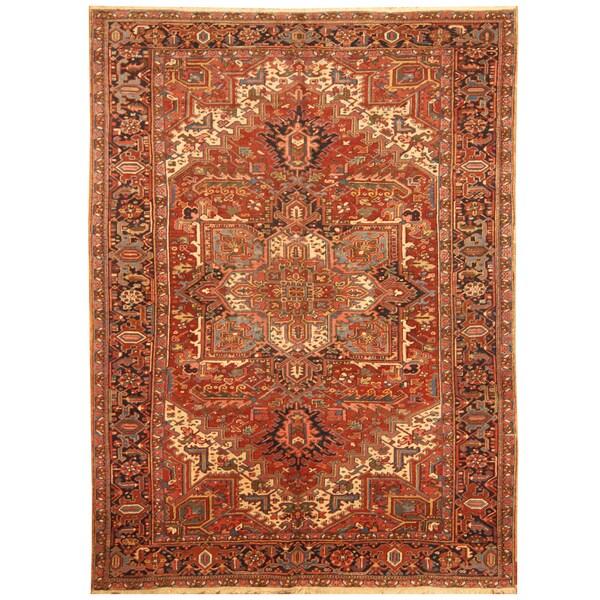 Handmade Herat Oriental Persian Hand-knotted Tribal 1930s Antique Heriz Wool Rug - 7'7 x 10'9 (Iran)