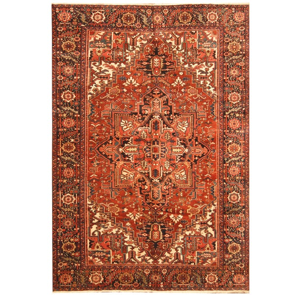 Handmade Herat Oriental Persian Hand-knotted Tribal 1940s Antique Heriz Wool Rug (7'9 x 11') - 7'9 x 11'