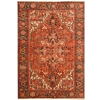 Handmade Herat Oriental Persian Hand-knotted Tribal 1940s Antique Heriz Wool Rug - 7'9 x 11'
