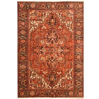 Handmade Herat Oriental Persian Hand-knotted Tribal 1940s Antique Heriz Wool Rug (Iran) - 7'9 x 11'