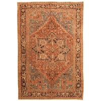 Handmade Herat Oriental Persian Hand-knotted Tribal 1910s Antique Heriz Wool Rug - 7'4 x 10'10