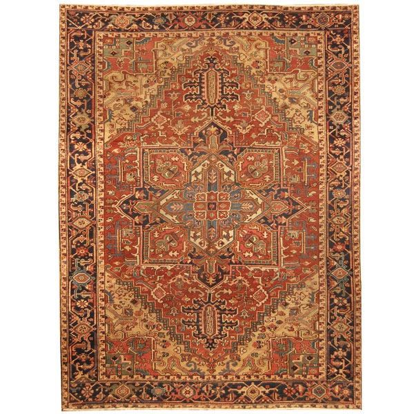 Handmade Herat Oriental Persian Hand-knotted Tribal 1920s Antique Heriz Wool Rug - 7'6 x 10'8