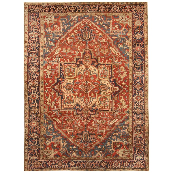 Handmade Herat Oriental Persian Hand-knotted Tribal 1920s Antique Heriz Wool Rug (7'9 x 10'8) - 7'9 x 10'8