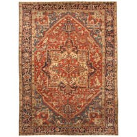 Handmade Herat Oriental Persian Hand-knotted Tribal 1920s Antique Heriz Wool Rug - 7'9 x 10'8
