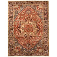 Handmade Herat Oriental Persian Hand-knotted Tribal 1920s Antique Heriz Wool Rug (7'9 x 10'8) - 7'9 x 10'8