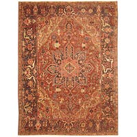 Handmade Herat Oriental Persian Hand-knotted Tribal 1920s Antique Heriz Wool Rug (8'7 x 11'7)