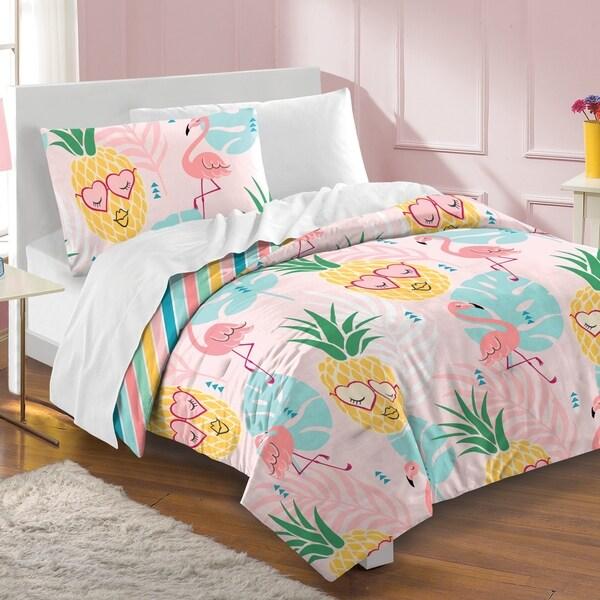 Shop Dream Factory Pineapple 3 Piece Cotton Comforter Set