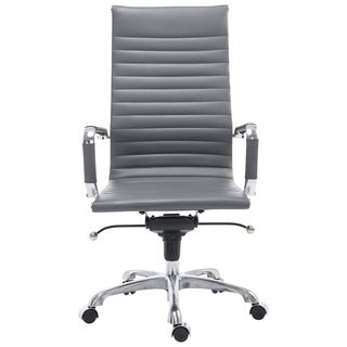 Poly and Bark Ribbed High Back Office Chair in Grey