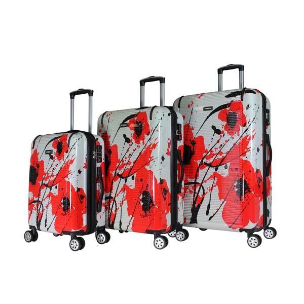 a8925c74b6d1 Shop World Traveler Floral 3-piece Hardside Spinner Luggage Set with ...