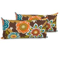 Retro Floral Outdoor Throw Pillows Rectangle Set of 2