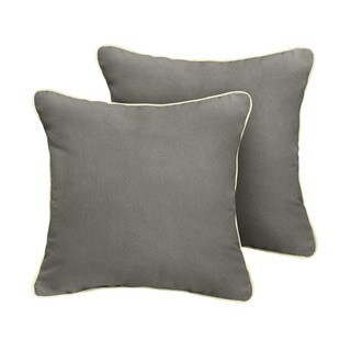Humble + Haute Sunbrella Canvas Charcoal Indoor/Outdoor Corded Pillow Set of 2