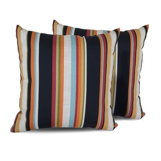 Villa Stripe Outdoor Throw Pillows Square Set of 2