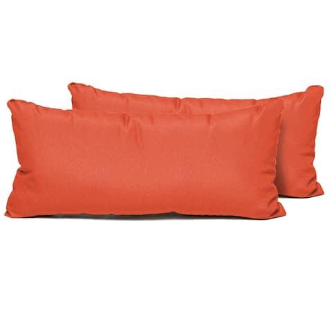 Tangerine Outdoor Throw Pillows Rectangle Set of 2