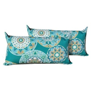 Teal Sundial Outdoor Throw Pillows Rectangle Set of 2