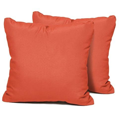 Tangerine Outdoor Throw Pillows Square Set of 2