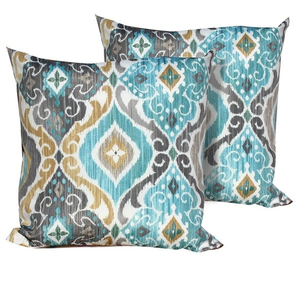 Persian Mist Outdoor Throw Pillows Square Set of 2 Multi Color Damask Moroccan Polyester Fade Resistant