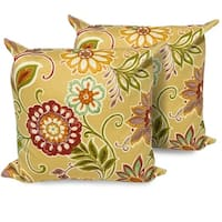 Golden Floral Outdoor Throw Pillows Square Set of 2
