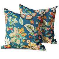 Wild Flower Outdoor Throw Pillows Square Set of 2