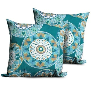 Teal Sundial Outdoor Throw Pillows Square Set of 2