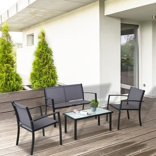 Furinno Melaka Outdoor Patio Leisure Dining Set, Dark Grey FG173002DGY/BK